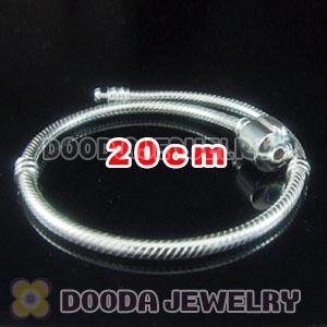 20cm 925 Silver Charm Jewelry Bracelet without stamped Clip