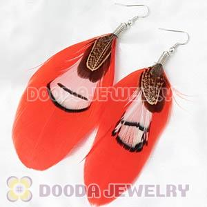 Red Tibetan Jaderic Bohemia Grizzly Feather Earrings Wholesale