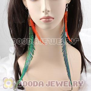 Cheap Green Extra Long Feather Earrings Wholesale