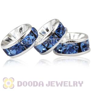 8mm Alloy Blue Crystal Spacer Beads For Basketball Wives Earrings