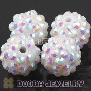12mm White Rhinestone Basketball Wives Resin Pave Beads Wholesale