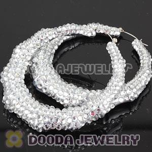 80mm White Basketball Wives Bamboo Crystal Hoop Earrings Wholesale