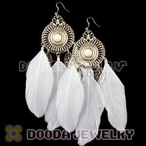 White Basketball Wives Feather Earrings Wholesale
