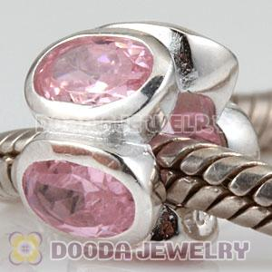 S925 Sterling Silver Charm Jewelry Beads with Pink Stone
