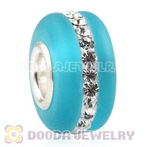 Cyan Frosted Glass Silver Core Bead With Austrian Crystal For European Bracelet