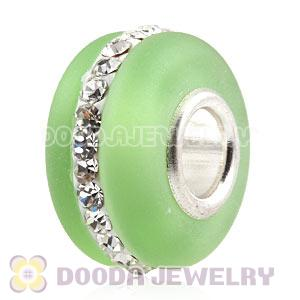 Green Frosted Glass Silver Core Bead With Austrian Crystal For European Bracelet