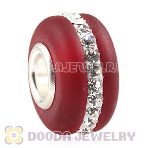 Red Frosted Glass Silver Core Bead With Austrian Crystal For European Bracelet