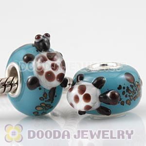 Handmade European Glass Turtle Surf Beads In 925 Silver Core Wholesale