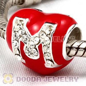 European Sterling Silver Enamel Heart Pave M Charm Bead With Austrian Crystal