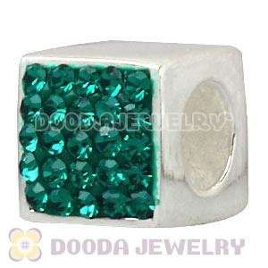 925 Sterling Silver Dice Charm Beads With Green Austrian Crystal Wholesale
