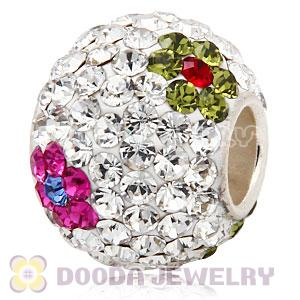 10X13 Big Charm Flower Beads With 130pcs Austrian Crystal In 925 Silver Core