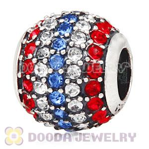 European Sterling Silver Pave Lights With Austrian Crystal Flag Of USA Charm Wholesale