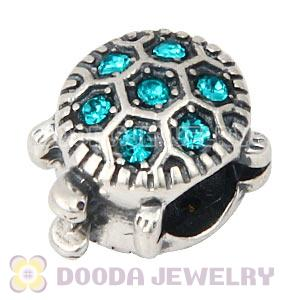 925 Sterling Silver European Turtle Charm Bead With Pave Blue Zircon Austrian Crystal