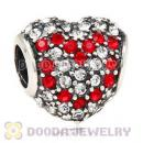 European Sterling Pave Heart Red Heart With Austrian Crystal Charm