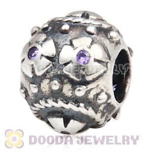 Easter Decorative Egg Beads with Purple CZ Stone fit European Bracelet