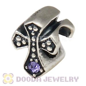 European Antique Sterling Silver Cross Charm Bead with Tanzanite Austrian Crystal
