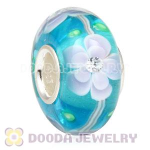 Handmade European Flower Blossom Glass Beads Inside Cubic Zirconia In 925 Silver Core