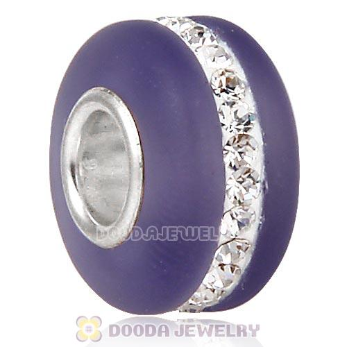 Purple Frosted Glass Silver Core Bead With Austrian Crystal For European Bracelet
