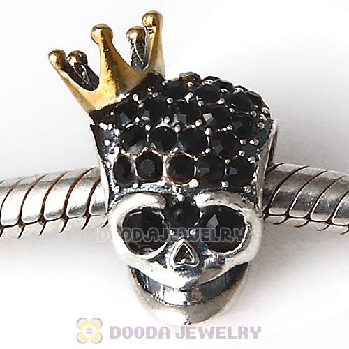 Gold Plated Crown Sterling Silver Skull Highness Bead with Jet Austrian Crystal