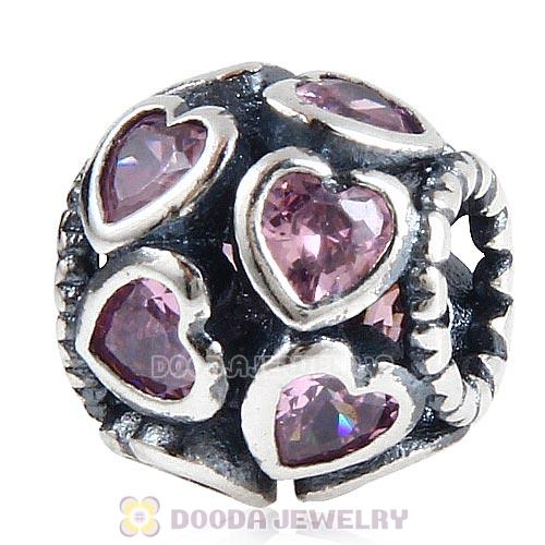 European Style Sterling Silver Love All Around Beads with Pink CZ Stone
