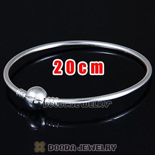 20cm 925 Sterling Silver European Style Bangle with Clip