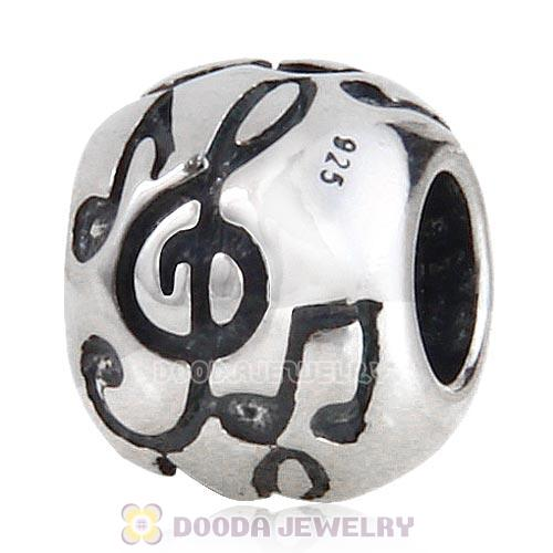 Antique Sterling Silver Music Note Charm Beads European Style