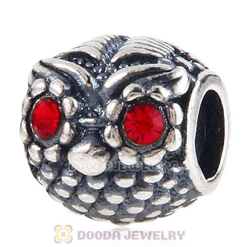Sterling Silver Wise Owl Charm Beads with Light Siam Austrian Crystal