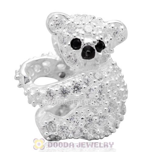 New Authentic Sterling Silver CZ Stone Pave Cute Koala Animal Charm Bead