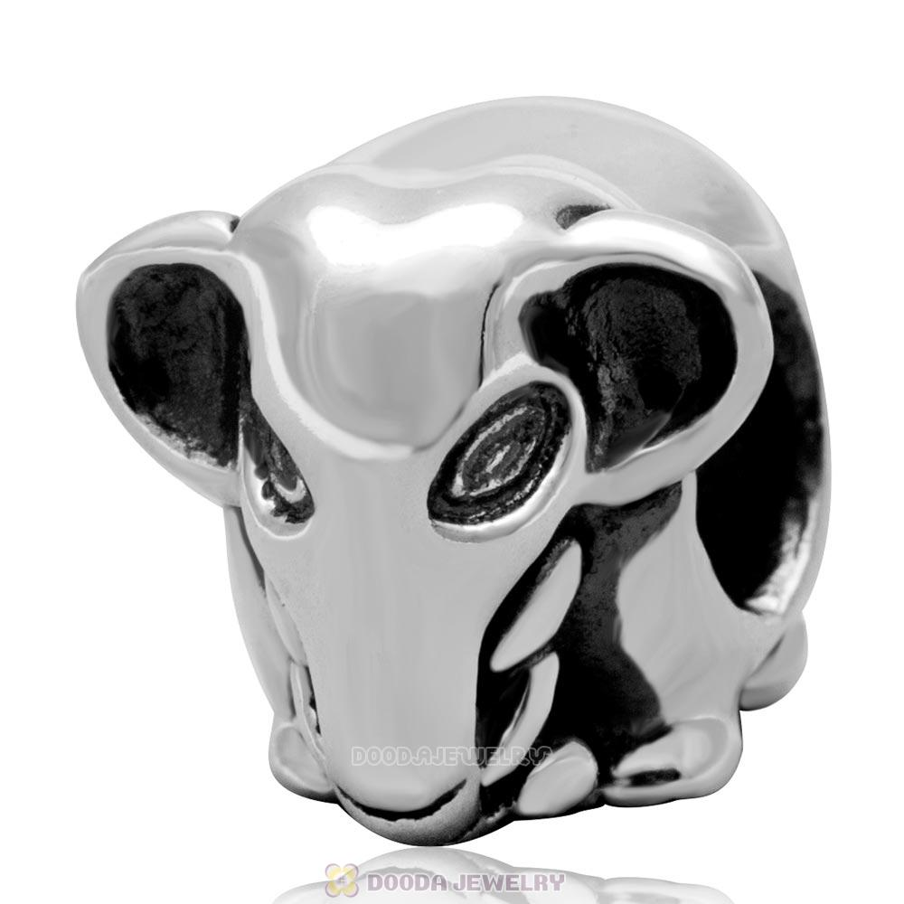 925 Sterling Silver Lucky Elephant Charm Animal Bead