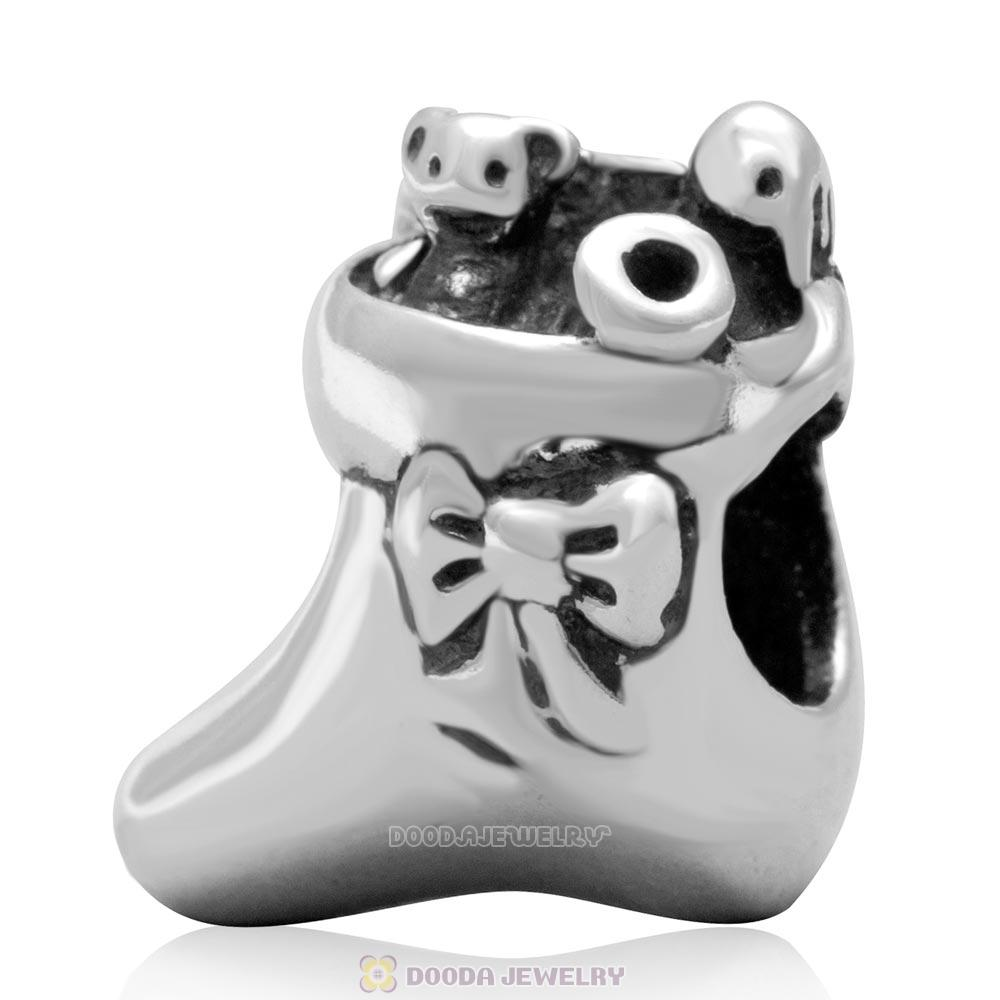 925 Sterling Silver Stocking of Santa Charm Bead for Christmas
