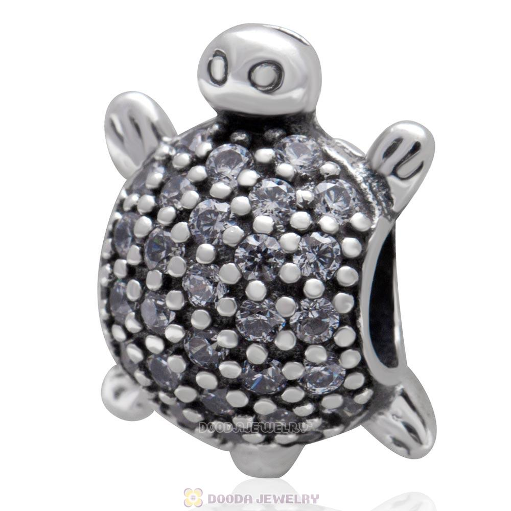 925 Sterling Silver Sea Turtle Charm Bead With Pave Clear CZ