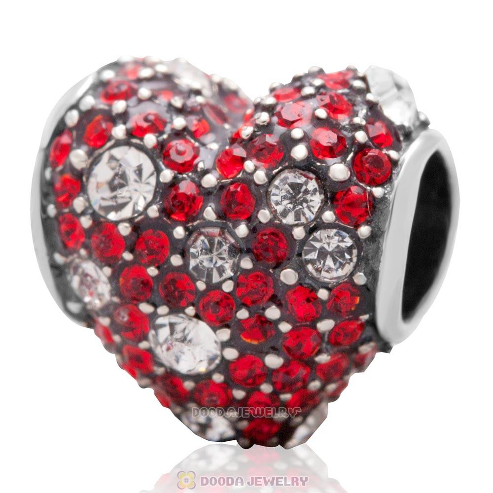 Sterling Silver Red Pave Heart Charm With Sparkling Light Siam Austrian Crystal
