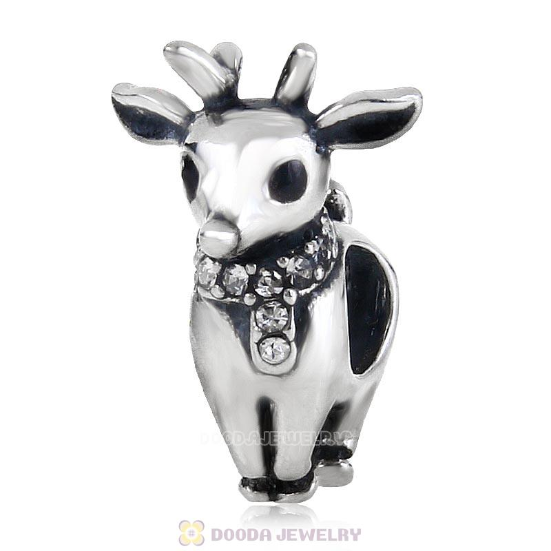 Antique Sterling Silver Reindeer Bead with Clear Australian Crystal