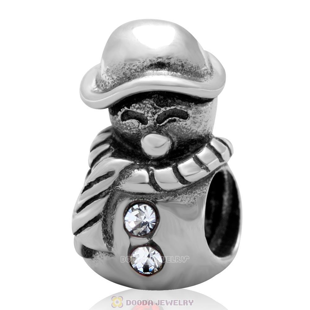 925 Sterling Silver Christmas Snowman Charm Bead with Clear Austrian Crystal