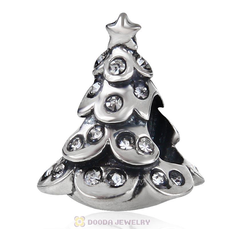 925 Sterling Silver Merry Christmas Tree Bead with Clear Australian Crystal