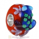European Style Lampwork Glass Animal Frog Beads in 925 Silver Core