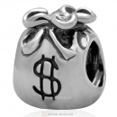 Antique 925 Sterling Silver Money Bag Charm Bead