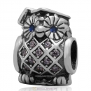 925 Sterling Silver Graduate Owl Charm Bead with Clear CZ and Blue Eye