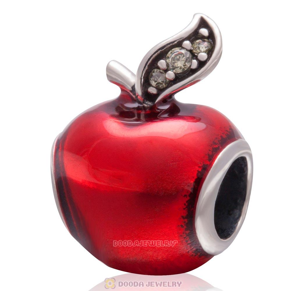 Snow White Red Apple Charm Enamel Bead 925 Sterling Silver Green CZ