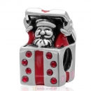 Christmas Santa Claus Send Gift Sterling Silver Red Enamel Charm  with Lt Siam Crystal