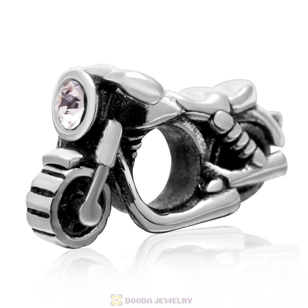 925 Sterling Silver Motorcycle Charm with Clear Austrian Crystal