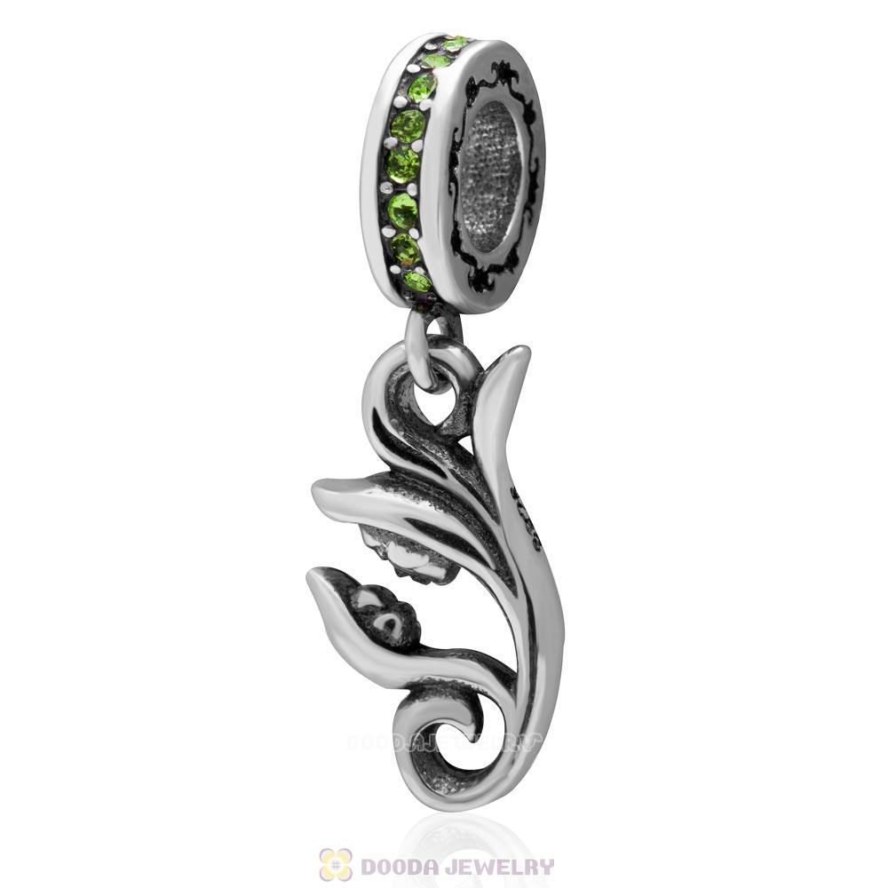 925 Sterling Silver Mother Baby Kissing on Flower with Green Crystal Dangling Charms Bead