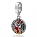 925 Sterling Silver Dangle Santa Walking Stick Charm with Clear Zircon Stones