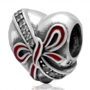 925 Sterling Silver Present wth Red Bow Heart Charm Bead with Zircon Stone