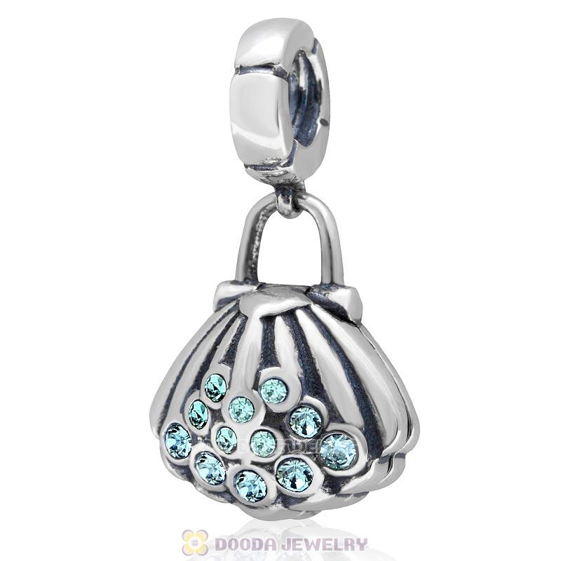 925 Sterling Silver Pearl Shell Aquamarine Crystal Dangling Charms