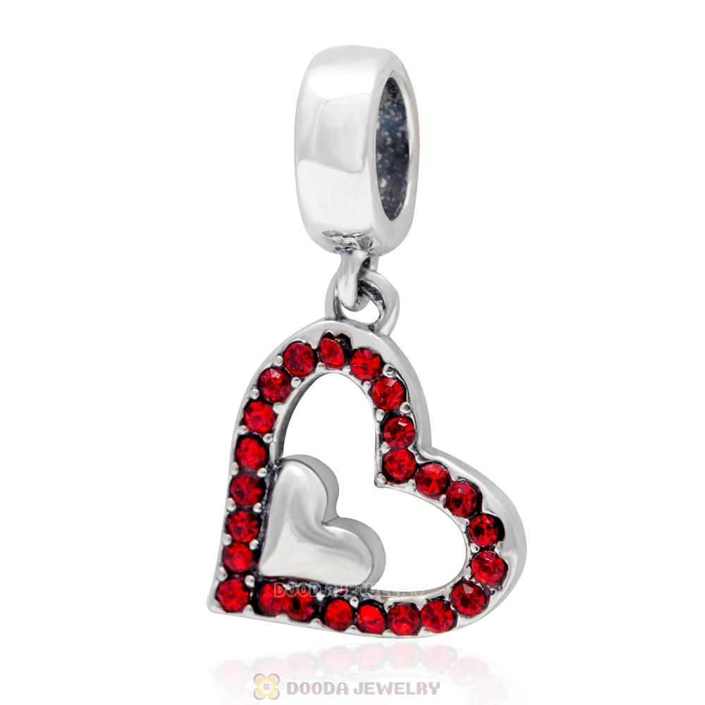925 Sterling Silver Lt Siam Crystal Heart Pendant Charm