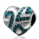 European Style Sterling Silver Heart Bead with Blue Zircon Crystal