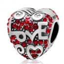 Heart with Love Charm Lt Siam Australian Crystal Bead 925 Sterling Silver