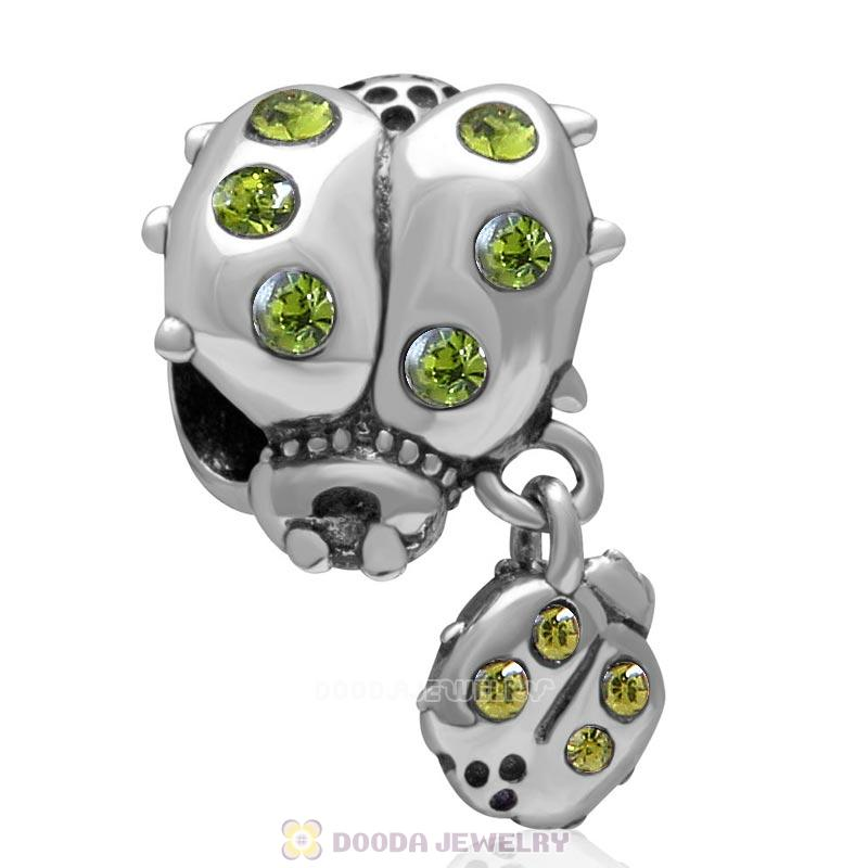 925 Sterling Silver Ladybug with Dangling Smaller Ladybug and Olivine Crystals Charm Bead