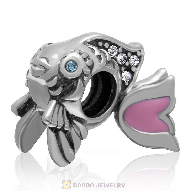 Cute Fish Charm with Clear Crystal and Pink Movable Tail in 925 Sterling Silver
